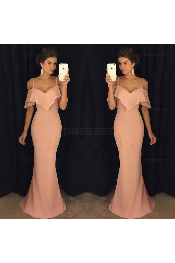 Mermaid Spaghetti Straps Long Prom Dresses Party Evening Gowns 3020333