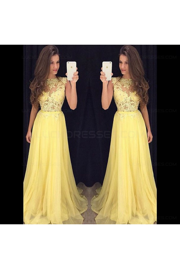 Long Yellow Illusion Bodice Lace and Chiffon Prom Dresses Party Evening Gowns 3020335