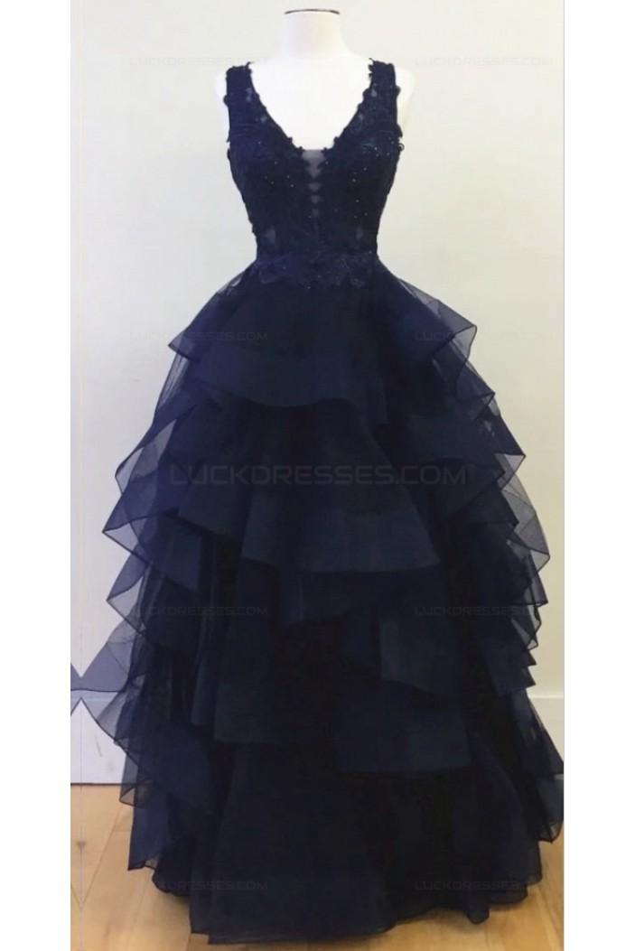 Long Navy V-Neck Lace Prom Dresses Party Evening Gowns 3020338