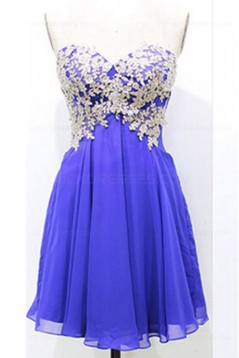 Short Blue Chiffon Lace Homecoming Cocktail Prom Dresses 3020343