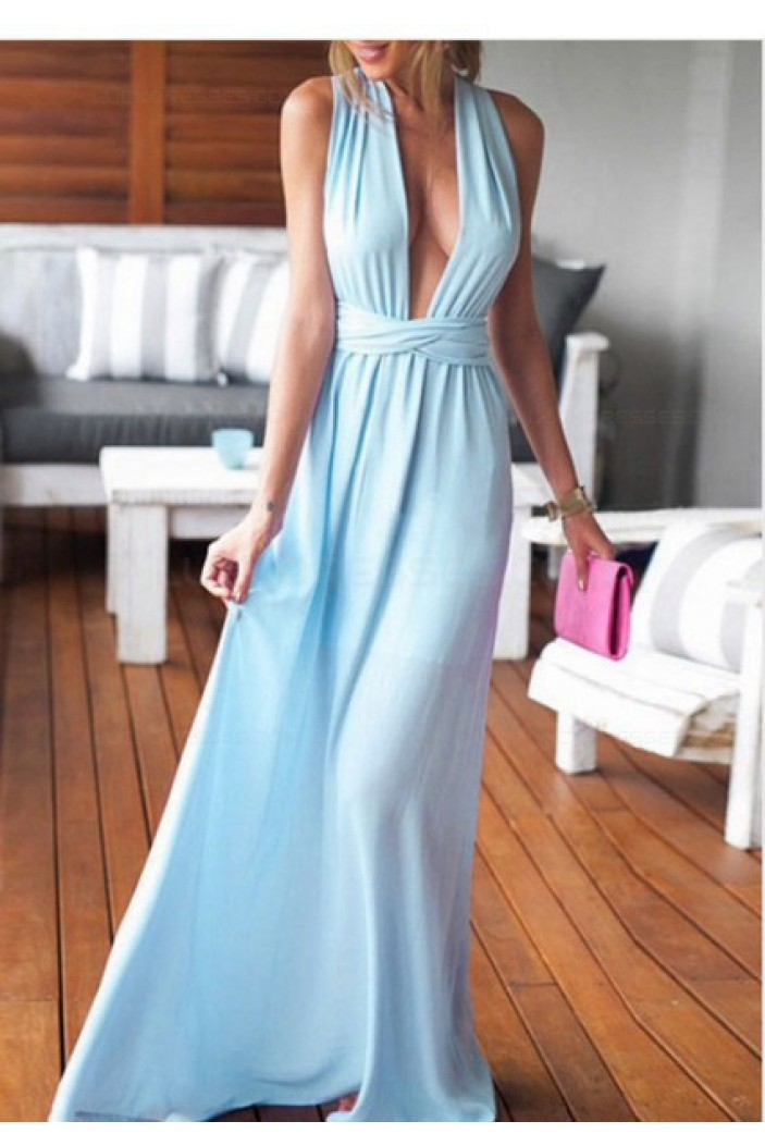 Sexy Long Blue Prom Dresses Party Evening Gowns 3020344