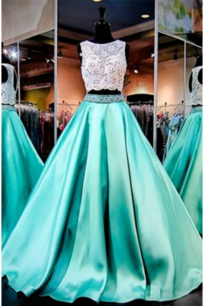 A-Line Two Pieces Keyhole Back Beaded Lace Satin Prom Dresses Party Evening Gowns 3020345