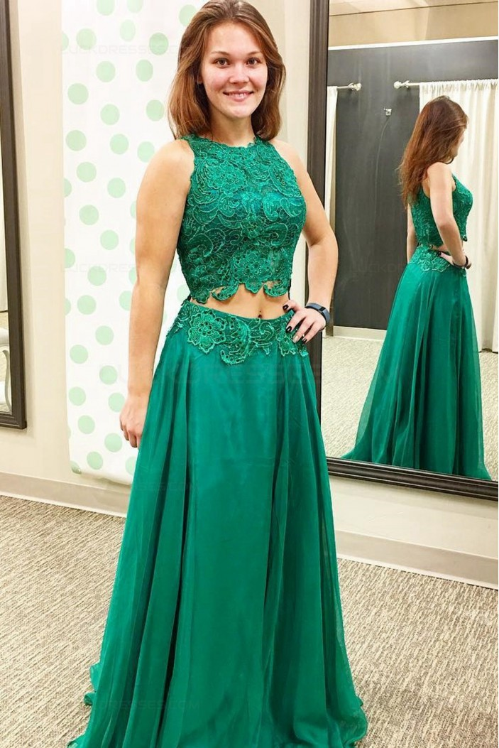 Long Green Two Pieces Lace Prom Dresses Party Evening Gowns 3020347