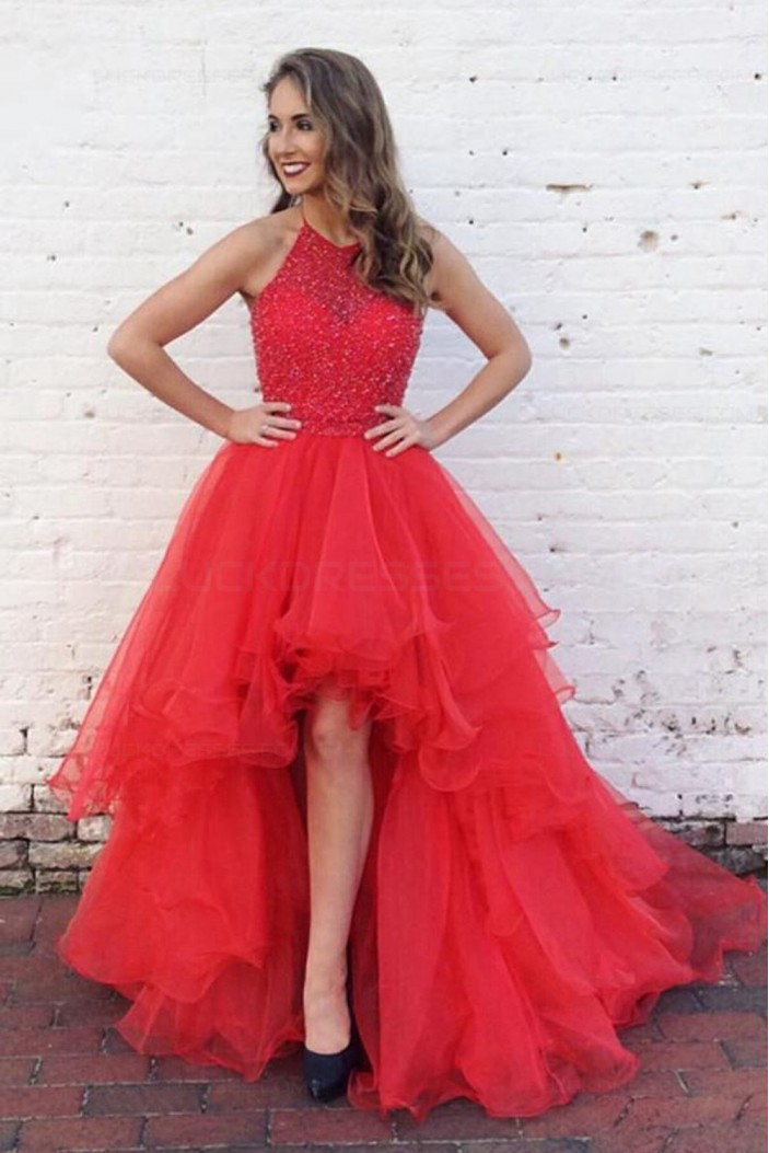 High Low Beaded Red Prom Dresses Party Evening Gowns 3020349