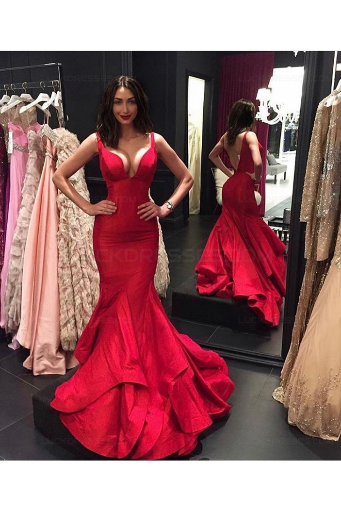 Sexy Mermaid Long Red Prom Dresses Party Evening Gowns 3020351