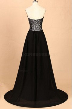 A-Line Sweetheart Beaded Long Black Prom Dresses Party Evening Gowns 3020359
