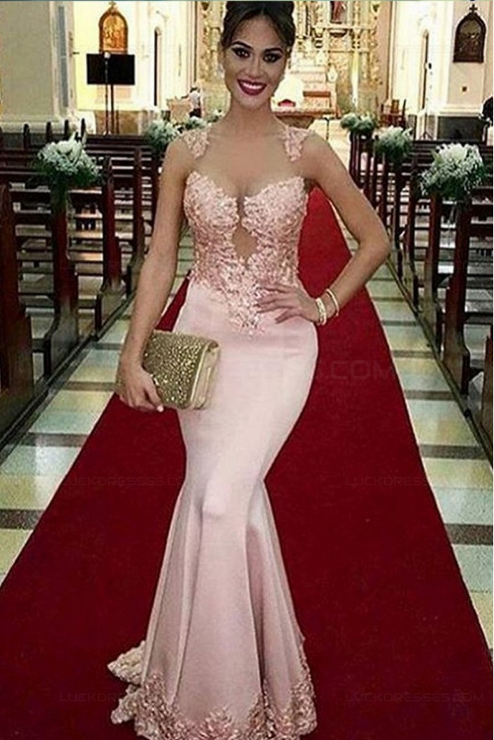 Long Pink Illusion Neckline Lace Mermaid Prom Dresses Party Evening Gowns 3020361