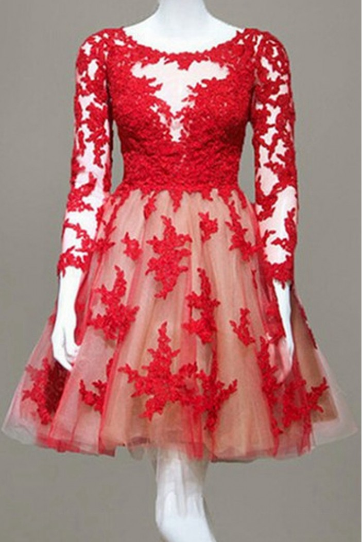 Long Sleeves Lace Red Short Homecoming Cocktail Prom Dresses 3020366