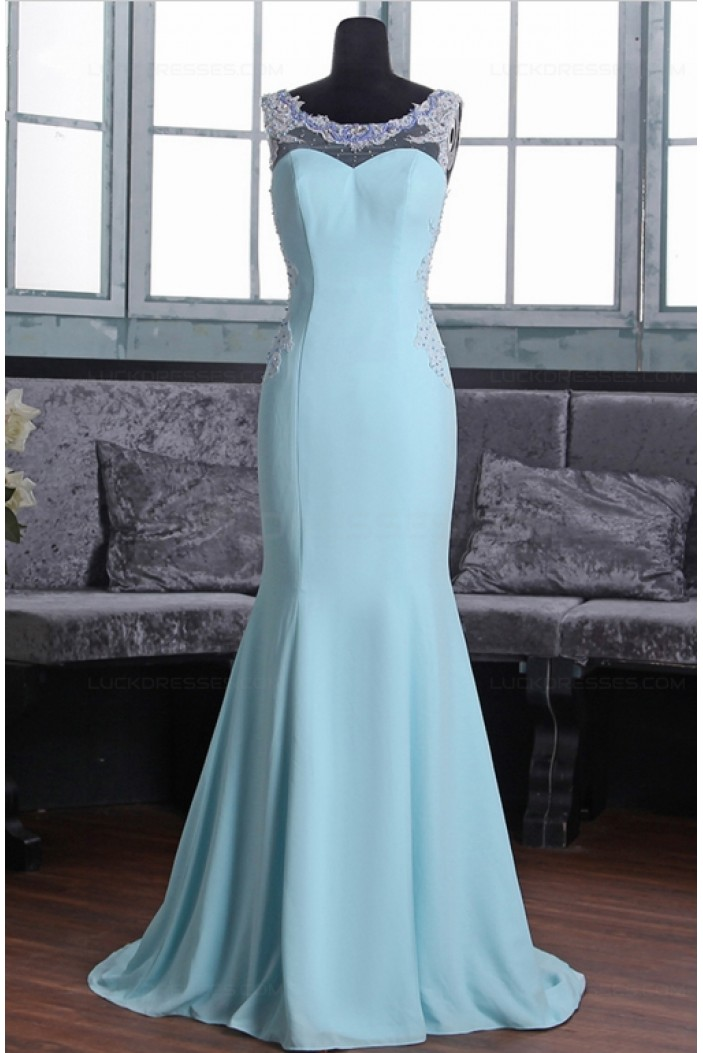 Mermaid Long Blue Beaded Lace Prom Dresses Party Evening Gowns 3020369
