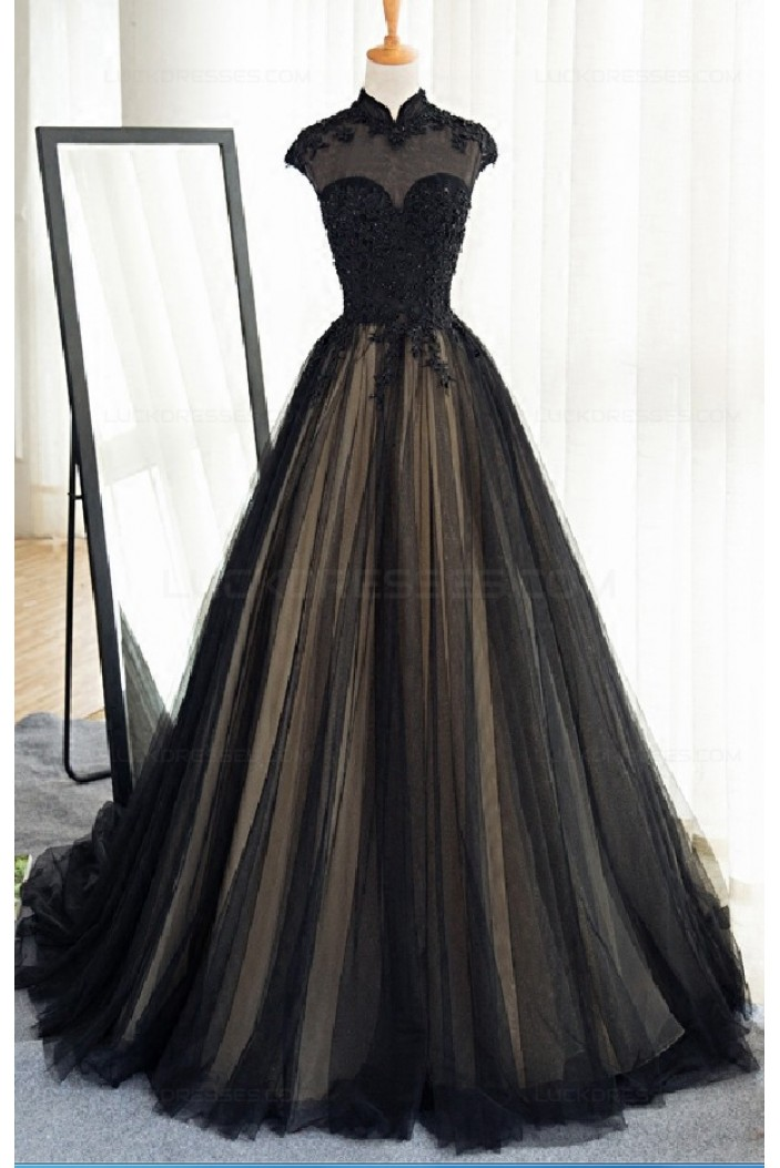 Long Black Lace Tulle Prom Dresses Party Evening Gowns 3020371