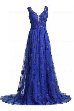 A-Line Long Blue Beaded Lace Prom Dresses Party Evening Gowns 3020372
