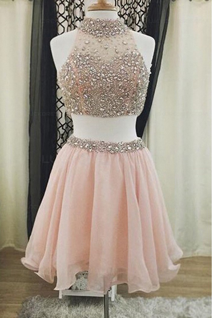 Two Pieces Beaded Short Homecoming Cocktail Prom Dresses 3020373
