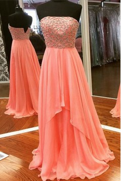 A-Line Strapless Beaded Chiffon Long Prom Dresses Party Evening Gowns 3020374