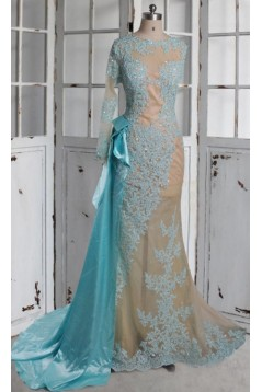 Mermaid One Sleeve Lace Long See Through Prom Dresses Party Evening Gowns 3020375