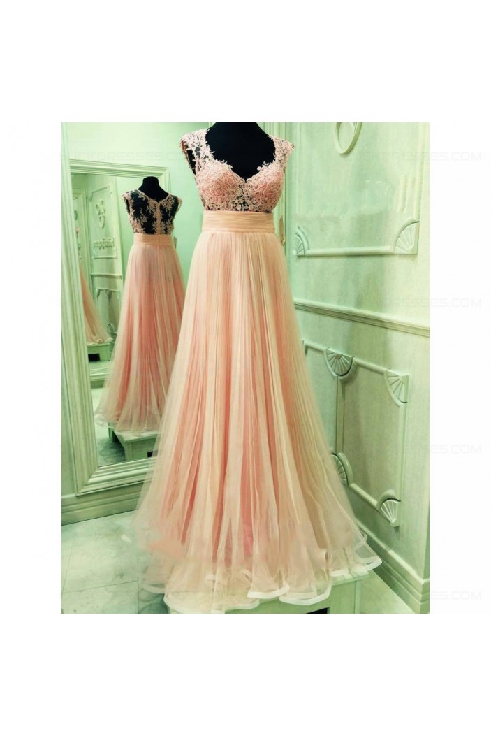 Lace and Tulle Illusion Bodice Long Prom Dresses Party Evening Gowns 3020376