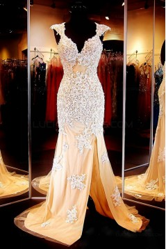 Mermaid Cap Sleeves Lace Long Prom Dresses Party Evening Gowns 3020377