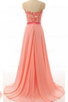 A-Line Illusion Neckline Lace Chiffon Prom Dresses Party Evening Gowns 3020378