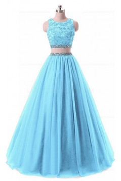 Two Pieces Beaded Lace Appliques Long Blue Prom Dresses Party Evening Gowns 3020380