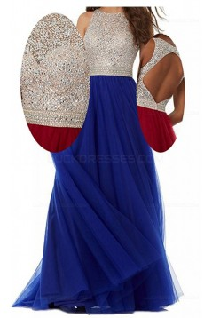 A-Line Long Blue Beaded Sequins Tulle Prom Dresses Party Evening Gowns 3020381