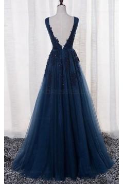 A-Line Lace Appliques Long Blue Prom Dresses Party Evening Gowns 3020383