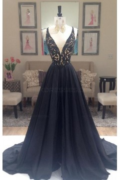 A-Line Long Black Lace V-Neck Prom Dresses Party Evening Gowns 3020384