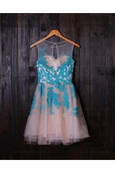 Short Illusion Neckline Blue Lace Appliques Homecoming Cocktail Prom Dresses 3020385