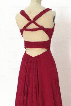 A-Line Long Red Chiffon Prom Dresses Party Evening Gowns 3020390