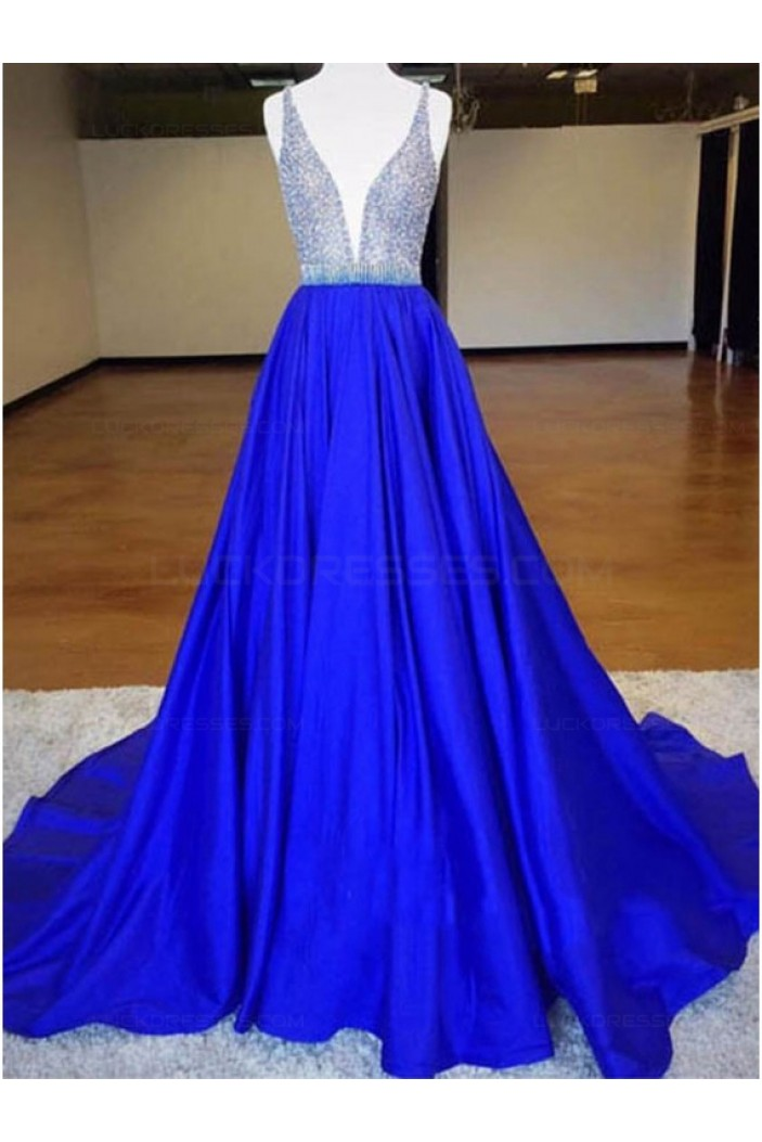 A-Line Long Blue V-Neck Prom Dresses Party Evening Gowns 3020392