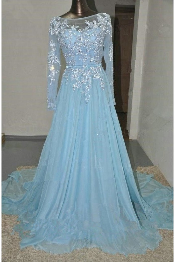A-Line Long Sleeves Illusion Neckline Lace Beaded Prom Dresses Party Evening Gowns 3020394