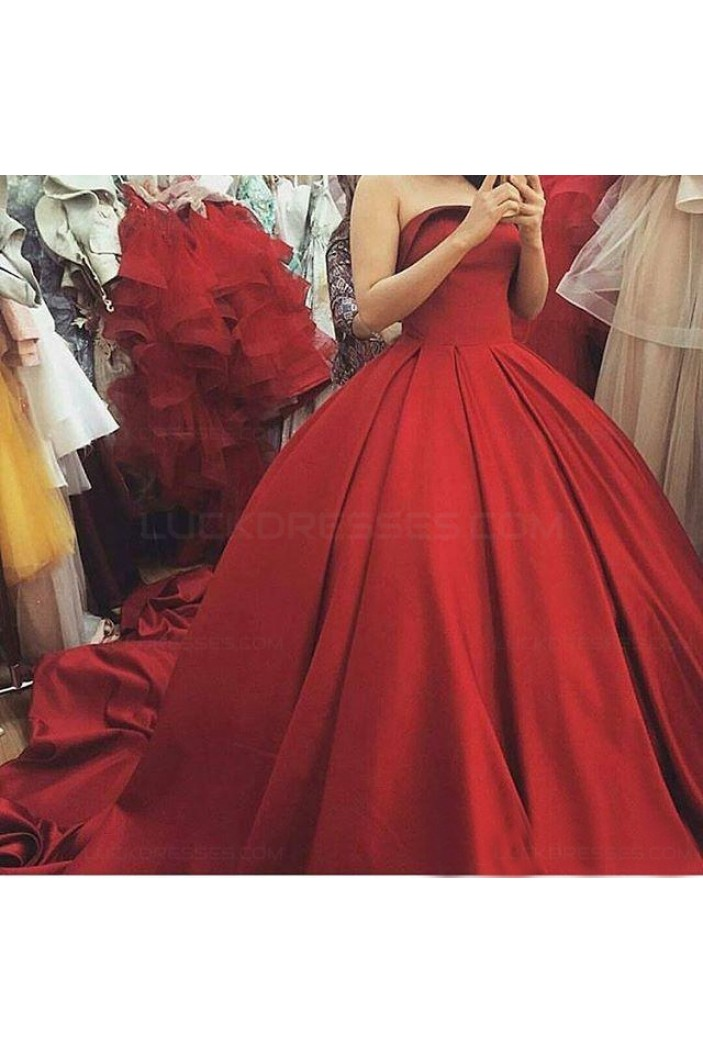 Ball Gown Strapless Long Red Prom Dresses Party Evening Gowns 3020397