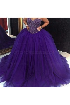 Ball Gown Sweetheart Burgundy Beaded Tulle Prom Dresses Party Evening Gowns 3020399