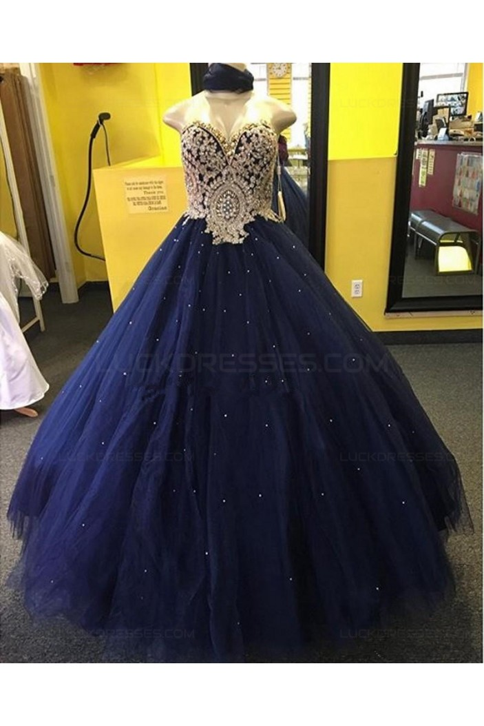 Ball Gown Sweetheart Blue Gold Lace Tulle Prom Dresses Party Evening Gowns 3020400