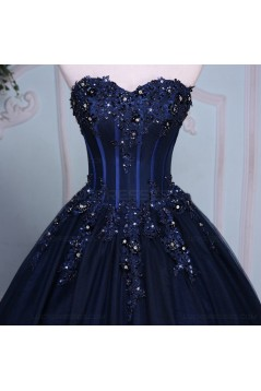 Long Blue Sweetheart Beaded Lace Prom Dresses Party Evening Gowns 3020402