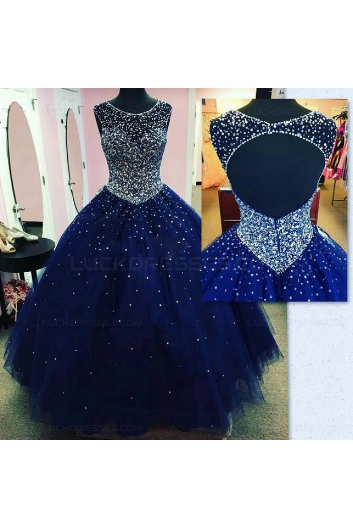 Ball Gown Beaded Long Blue Prom Dresses Party Evening Gowns 3020403