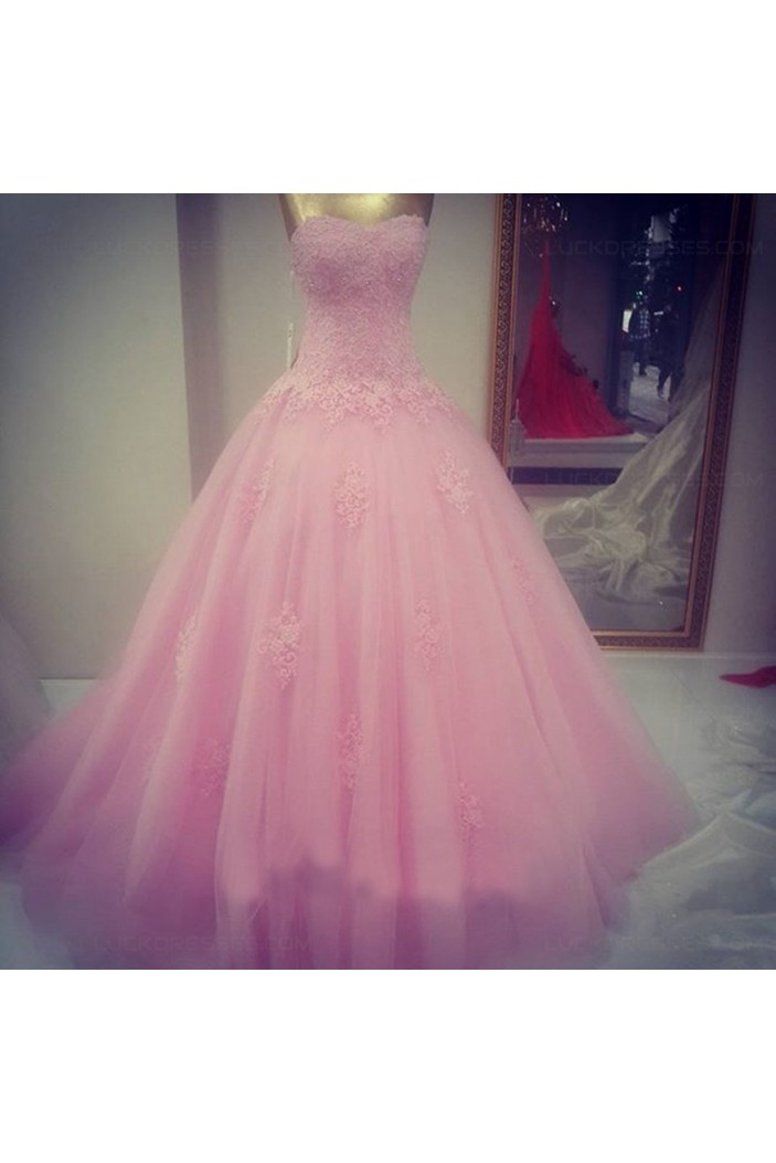 Ball Gown Sweetheart Lace Tulle Long Pink Prom Dresses Party Evening Gowns 3020404