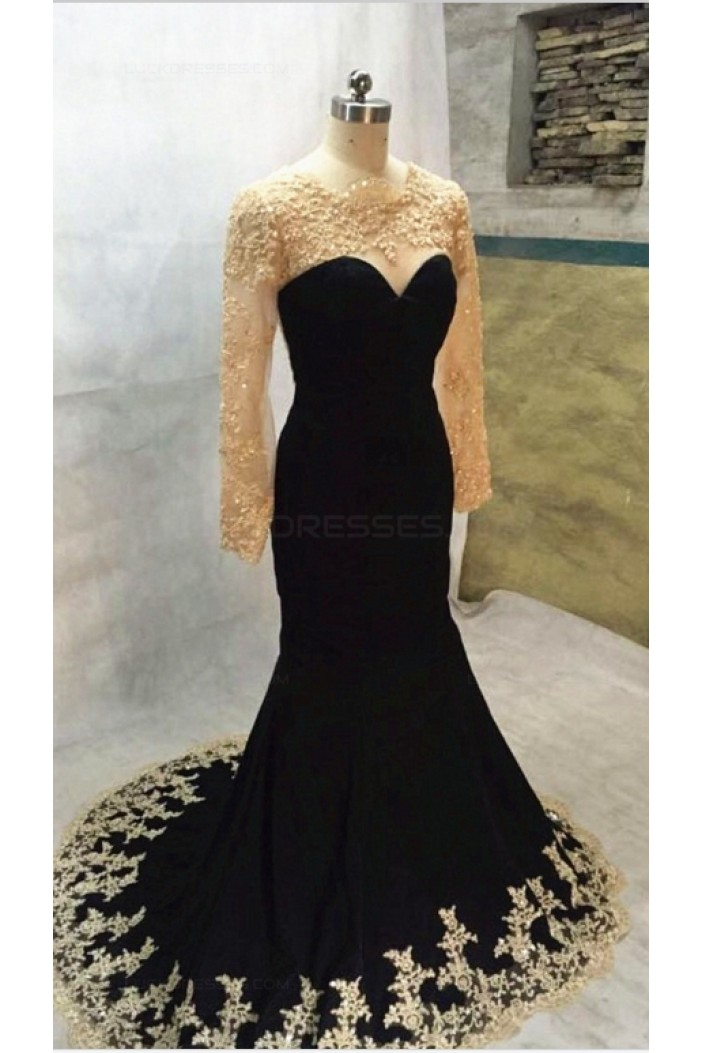 Long Black Mermaid Gold Lace Appliques Long Sleeves Prom Dresses Party Evening Gowns 3020405