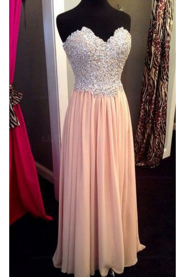 Sheath/Column Sweetheart Beaded Long Prom Dresses Party Evening Gowns 3020406