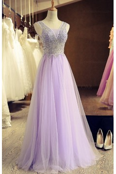 A-Line Beaded Lilac Tulle Prom Dresses Party Evening Gowns 3020407