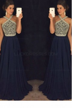 A-Line Beaded Long Navy Chiffon Prom Dresses Party Evening Gowns 3020410