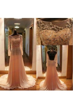 A-Line Long Sleeves Beaded Backless Prom Dresses Party Evening Gowns 3020411