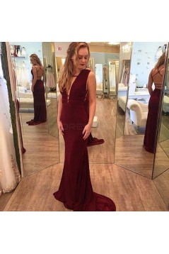 Sexy Long Burgundy Chiffon Prom Dresses Party Evening Gowns 3020412