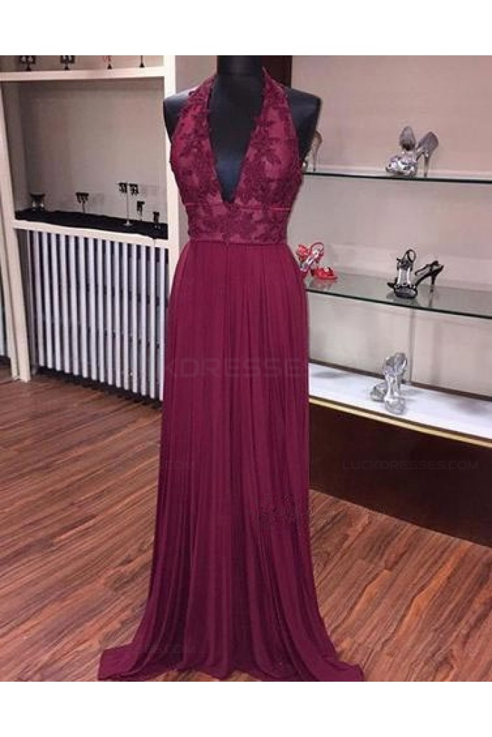 Burgundy Halter V-Neck Lace Prom Dresses Party Evening Gowns 3020415