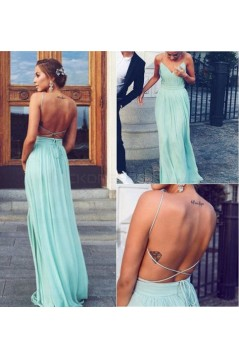 Long Spaghetti Straps Mint Chiffon Prom Dresses Party Evening Gowns 3020416