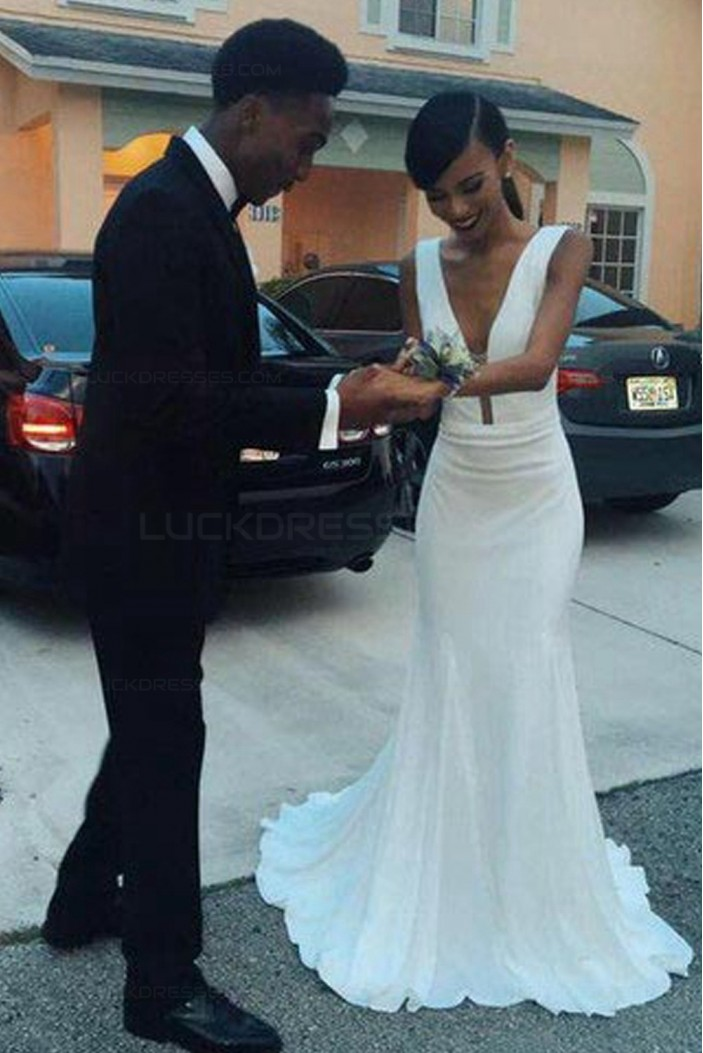 Long White Mermaid Prom Dresses Party Evening Gowns 3020417