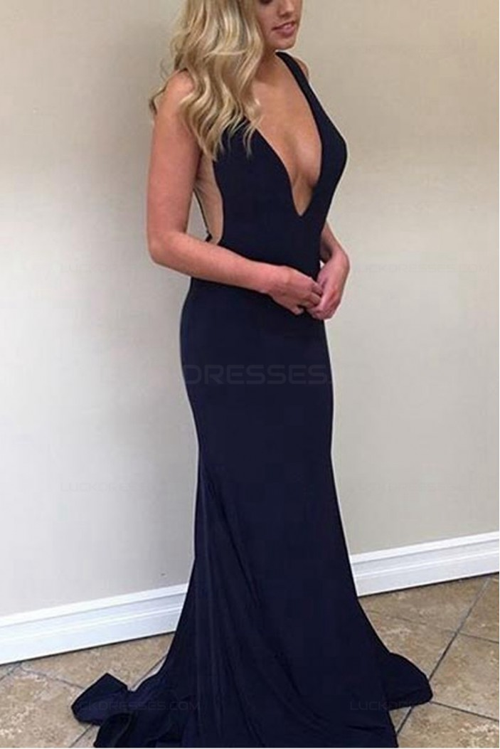 Sexy Low V-Neck Long Navy Blue Prom Dresses Party Evening Gowns 3020420