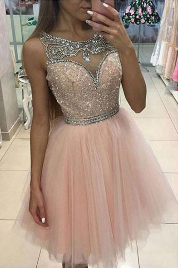 Beaded Short/Mini Tulle Homecoming Cocktail Prom Dresses 3020422