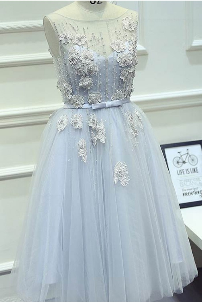 Illusion Neckline Unique Beaded Lace Tulle Prom Dresses Party Evening Gowns 3020423