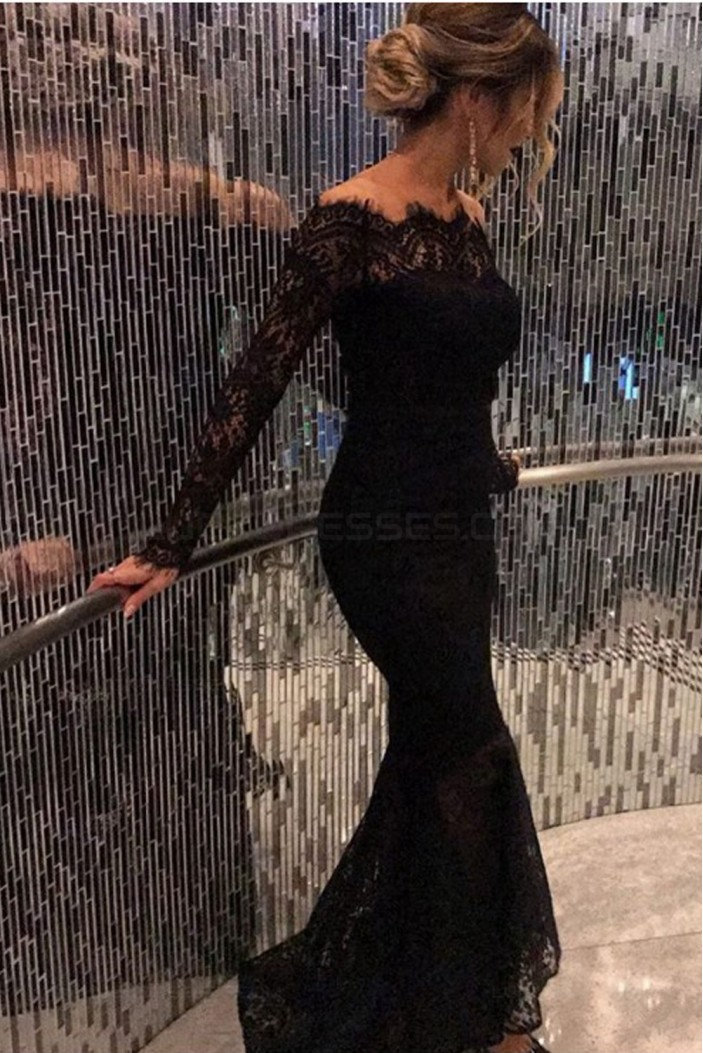 Long Black Off-the-Shoulder Lace Mermaid Prom Dresses Party Evening Gowns 3020426