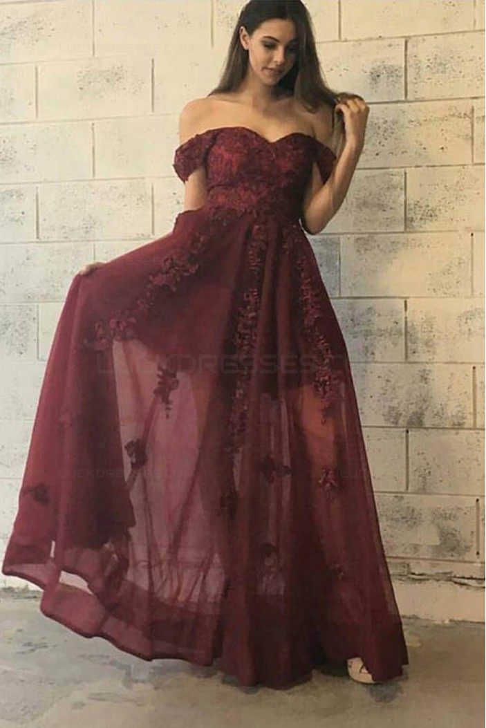 Lace Off-the-Shoulder Long Prom Dresses Party Evening Gowns 3020429