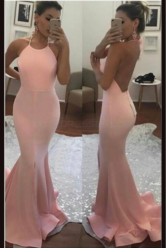 Mermaid Halter Long Pink Prom Dresses Party Evening Gowns 3020434